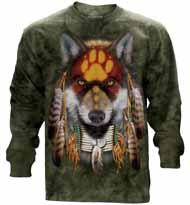 Native Wolf Spirit Long Sleeve T-Shirt